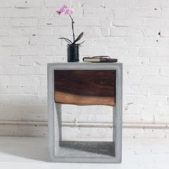 HomeMade Modern EP56 Concrete Walnut Nightstand