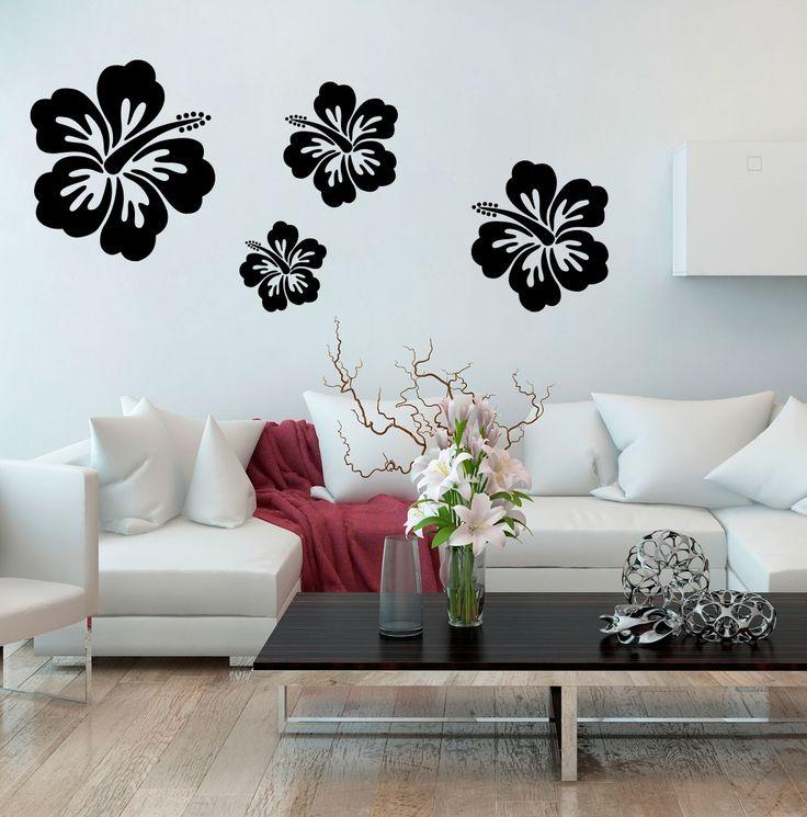 Jak urządzić dom w stylu urban jungle? Polecamy egzotyczne kwiaty hibiskusa na naklejce na ściany!
