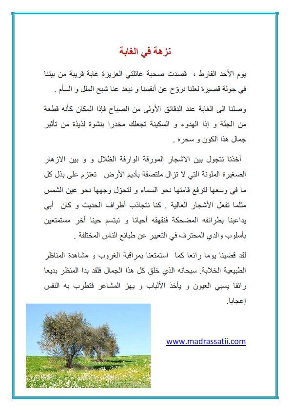 انتاج كتابي نزهة في الغابة موقع مدرستي كوم 001 Arabic Alphabet For Kids Learning Arabic Arabic Kids
