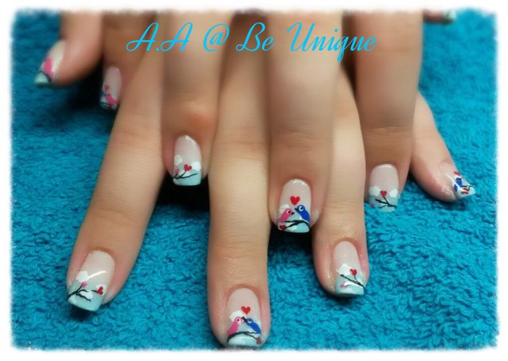 Nails done by Angelique Allegria. #blue #ombre #french #lovebirds #love # clouds #valentines #nailart #handpainted #BeUnique @angiedsa