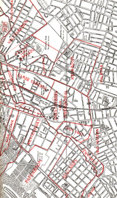 rondebosch=common-map-01 The Old Estates of Rondebosch and district (right hand side of map) Complied with kind assistance of the Surveyor General's Office