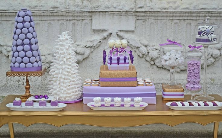 Purple dessert table - beautiful for a shower or wedding.