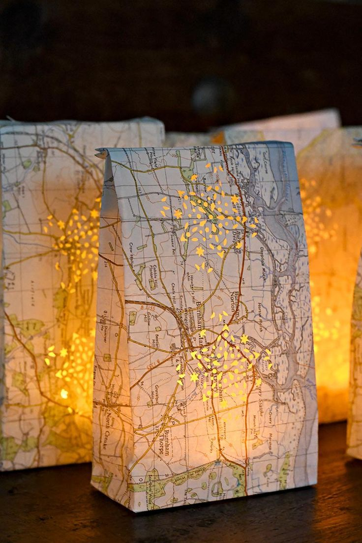 How To Make Pretty Map Luminary Bags Diy Party Decorations