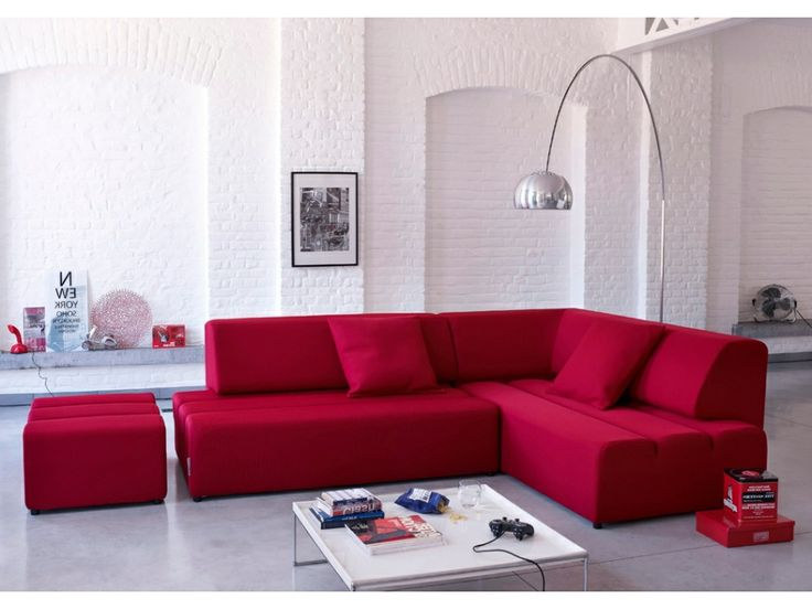 Canapé d'angle convertible tissu SMOOTHY - Rouge - Angle droit