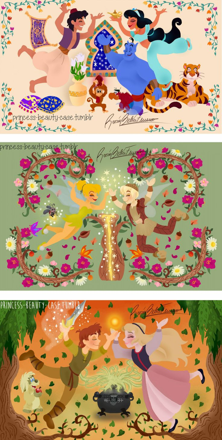 Princess Beauty Case — Hi!!! These are all my drawings of Disney movies...