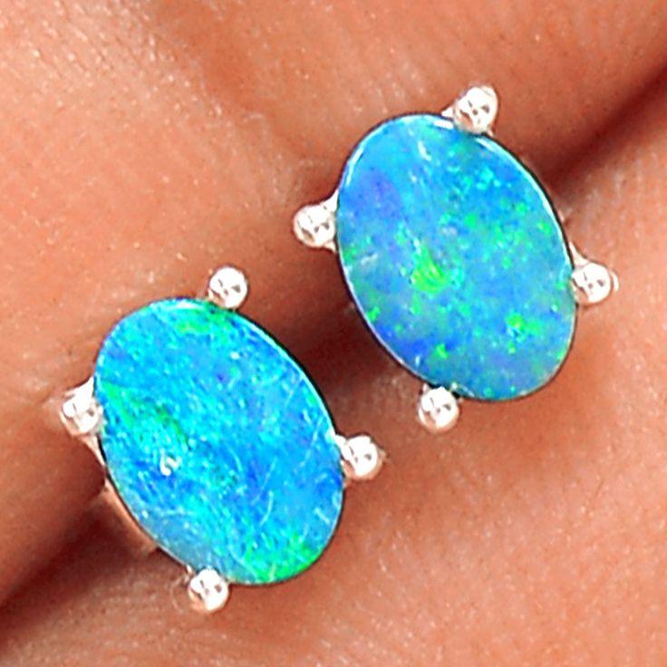 Australian Opal - Stud 925 Sterling Silver Earrings Jewelry SE139098 | eBay