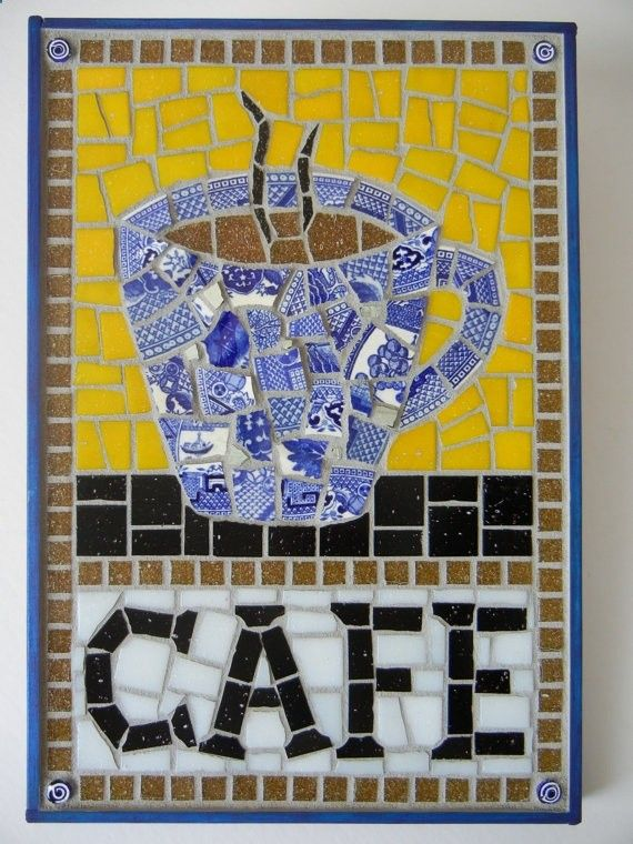 Mosaic Cafe sign with coffee cup         #mosaic #coffeemosaic