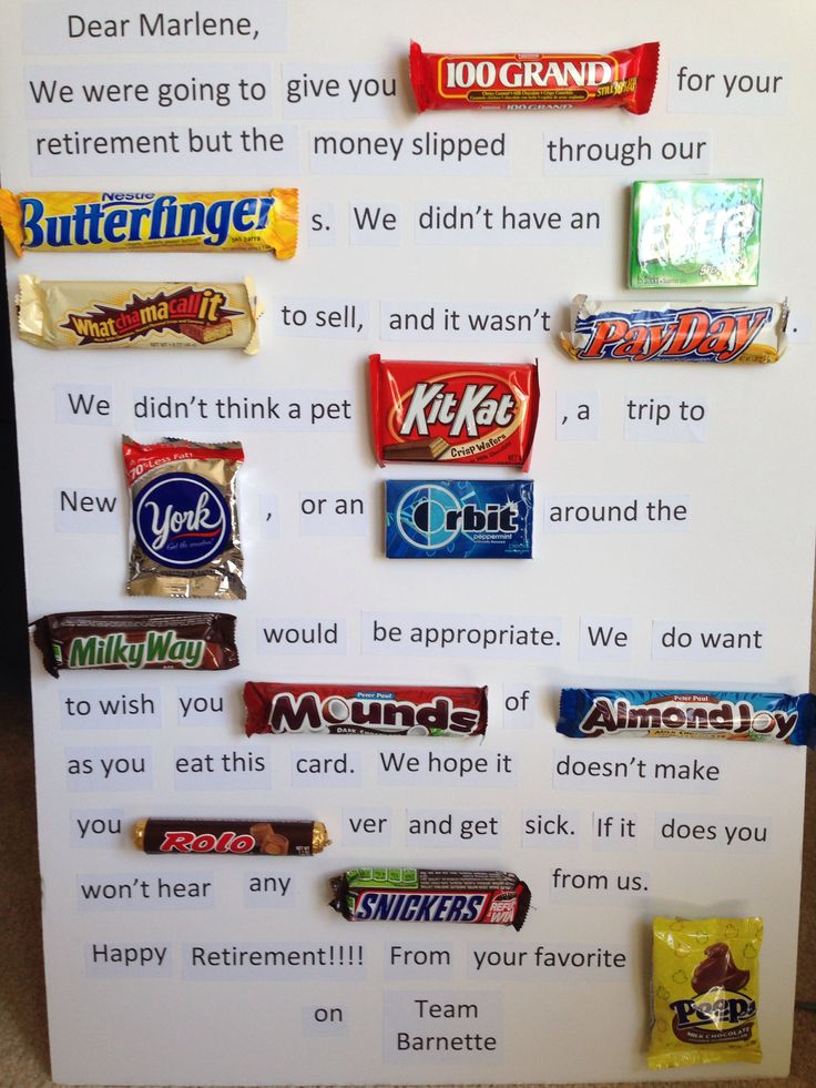 Office party Retirement candy card I made. I think she will love it! #ChocolateLover