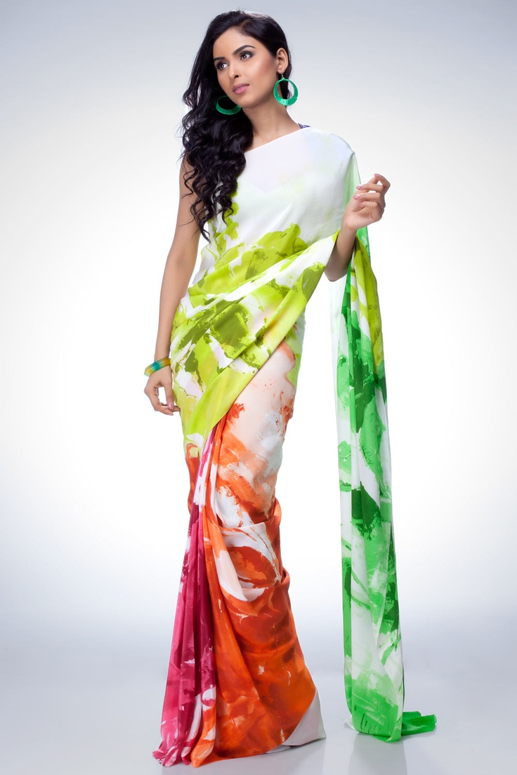 Feel the ambience of style in digital printed georgette #saree.