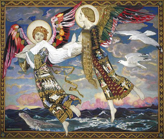 Two angels transporting Brigid to Bethlehem for the birth of Christ (as she was claimed to have been Mary's midwife), painting entitled Saint Bride, John Duncan, 1913