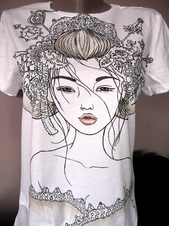 Yuuwaku hand painted tshirt by jandystyle on Etsy, $17.00