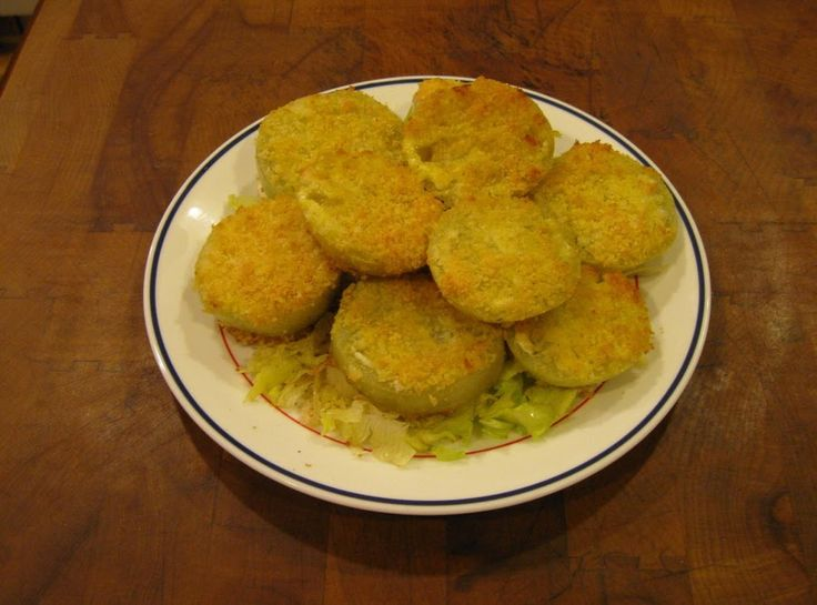 """We like our """"fried"""" green tomatoes done this way as there is less grease and they are very tasty.  The same recipe works very good with eggplant and zucchini also."""