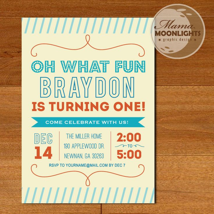 First Birthday Party Printable Oh What Fun 5x7 Invitation Boy Age One Year Old Blue Aqua Orange