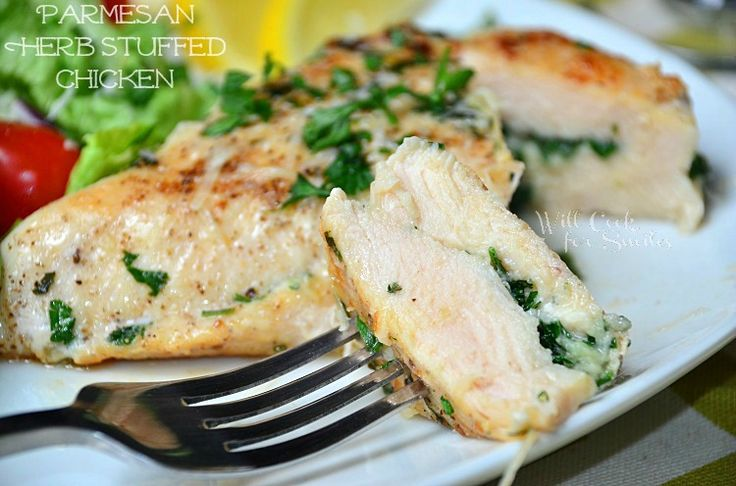 Parmesan and Herb Stuffed Chicken! It's a grilled chicken breast that's stuffed with a mixture of fresh grated Parmesan cheese and herbs.