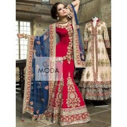 Classic royal red lehenga choli for Indian beautiful bride. Available is colors and size. Plus size also available.