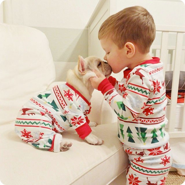 dog kid matching pajamas
