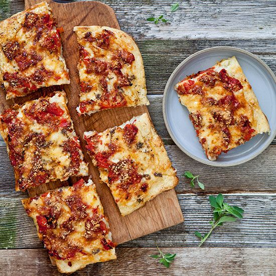 potato pie with tomato and fontina