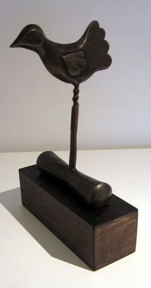 Melissa Young - Flying Start - bronze on a wooden base, ed. of 15