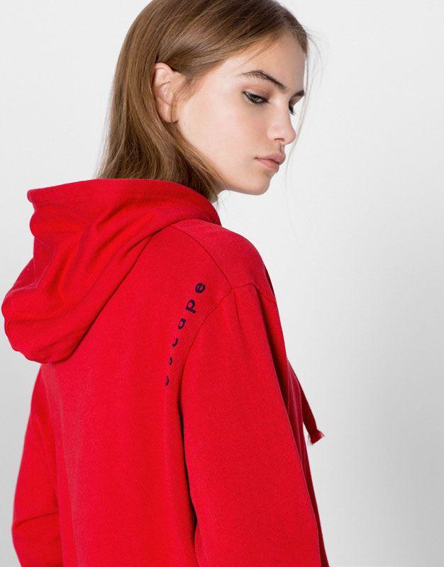 Pull&Bear - femme - vêtements - sweat - sweat à capuche inscription - rouge - 09590356-I2016