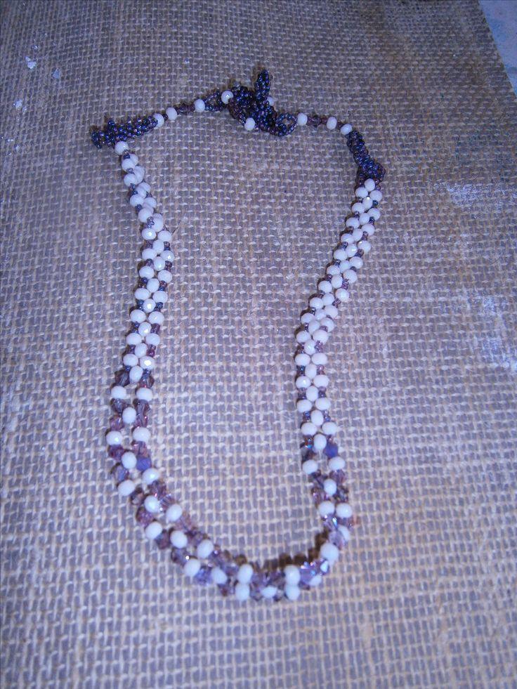 Sophiecadesigns #cream Iridescent #lilac #seedbeads #right angle #weave #peyote #toggle clasp