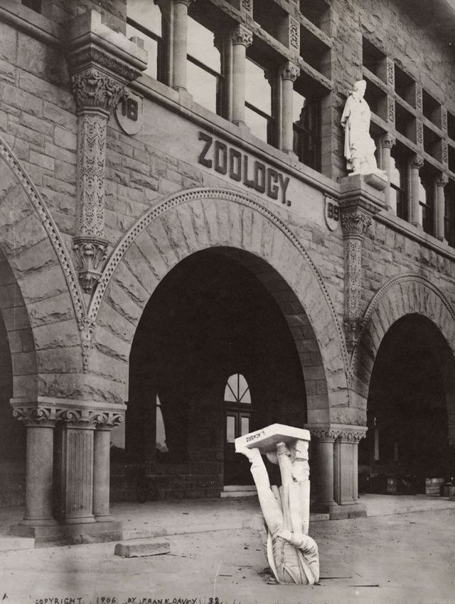 The Agassiz Statue  after the San Francisco Earthquake, May 1906