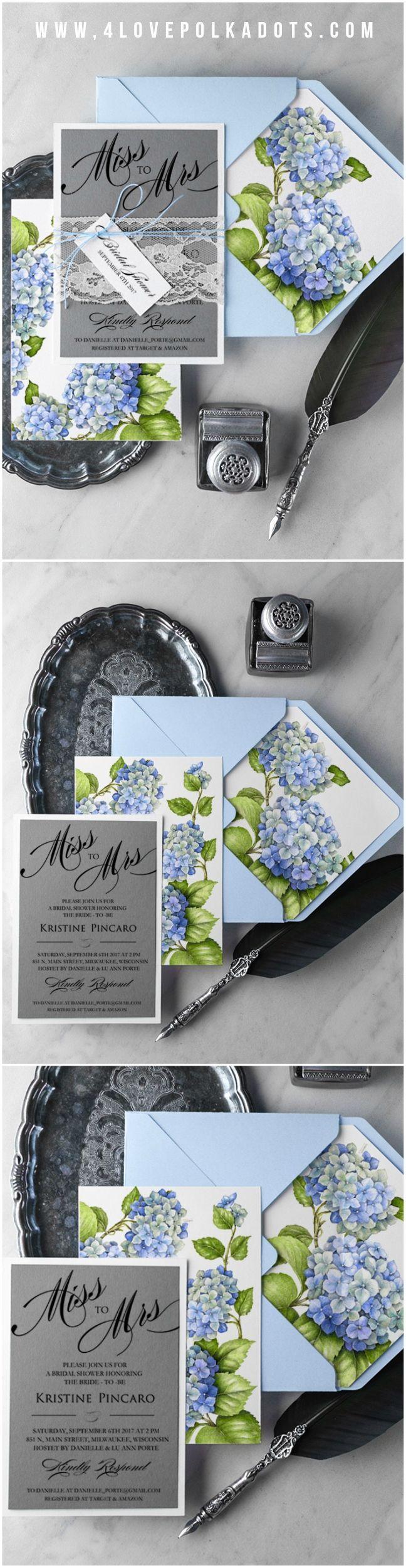 Purple hydrangea wedding invitation sample - Blue Hydrangea Floral Bridal Shower Invitations Bluewedding Hydrangea Floral Flowers Weddingideas