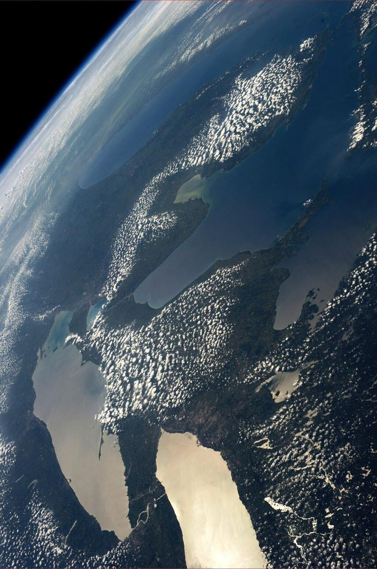 The picture of the Great Lakes, taken by Karen Nyberg up on Space Station. One fifth of the world's fresh water.