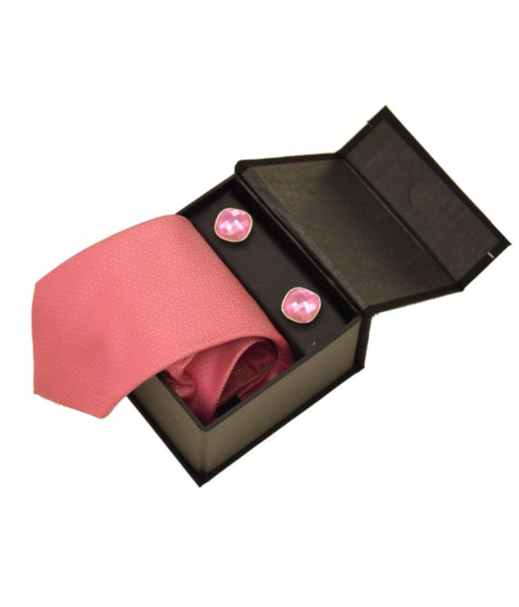 Sakshi International Pink Micro Fiber Tie And Cufflink Set