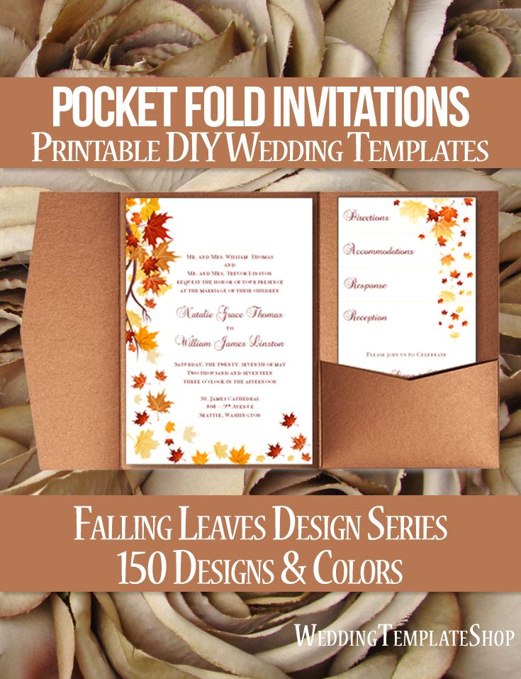 free templates for wedding response cards%0A Pocket Fold Wedding Invitations Falling Leaves Autumn Red Orange  x