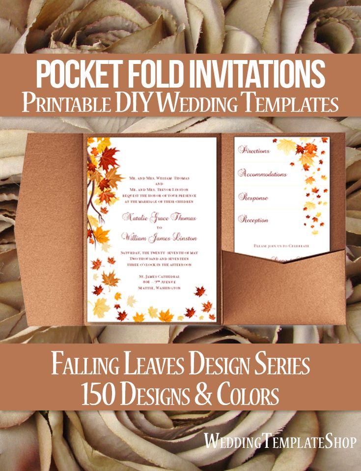pocket wedding invitation templates%0A Pocket Fold Wedding Invitations Falling Leaves Autumn Red Orange  x