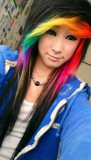 I love rainbow hair highlight side swept  perfect nice emo hair 3