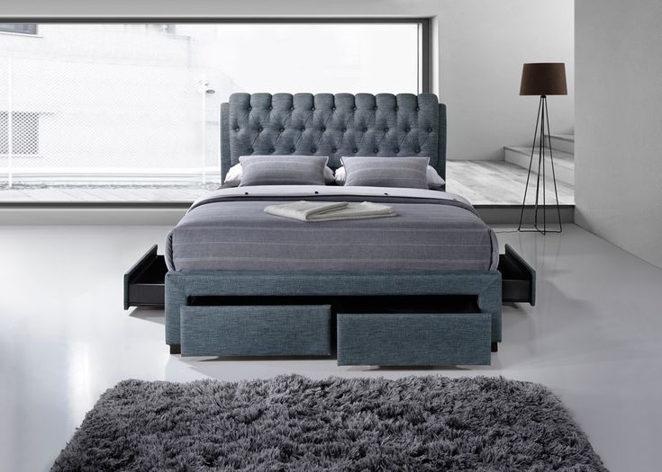the mayfair 4 drawer bed frame in grey fabric