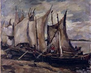 Fishing boats. Drying the sails. - Pyotr Konchalovsky