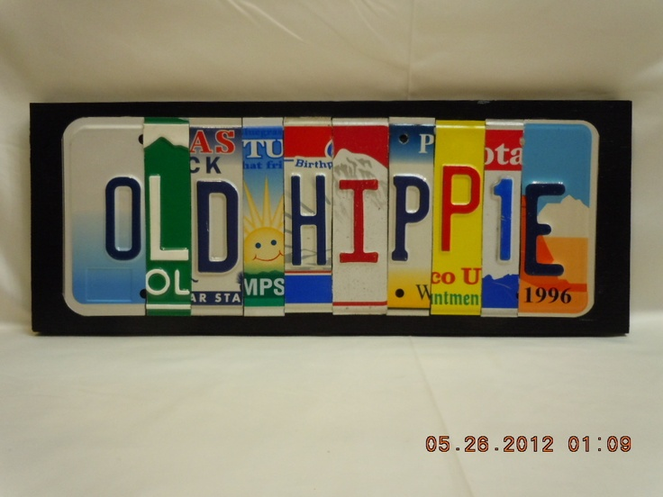 License Plate Letter Wall Sign OLD HIPPIE 39.95 + 9.51sh