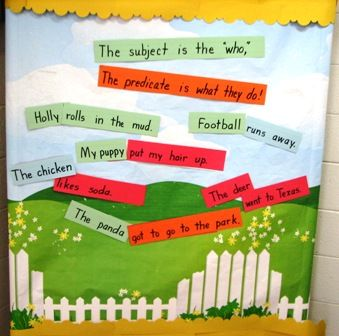 Subject and predicate - have students write a subject on one sentence and a predicate on a different sentence. Mix up in a bucket and have students choose of of each to create silly sentences!
