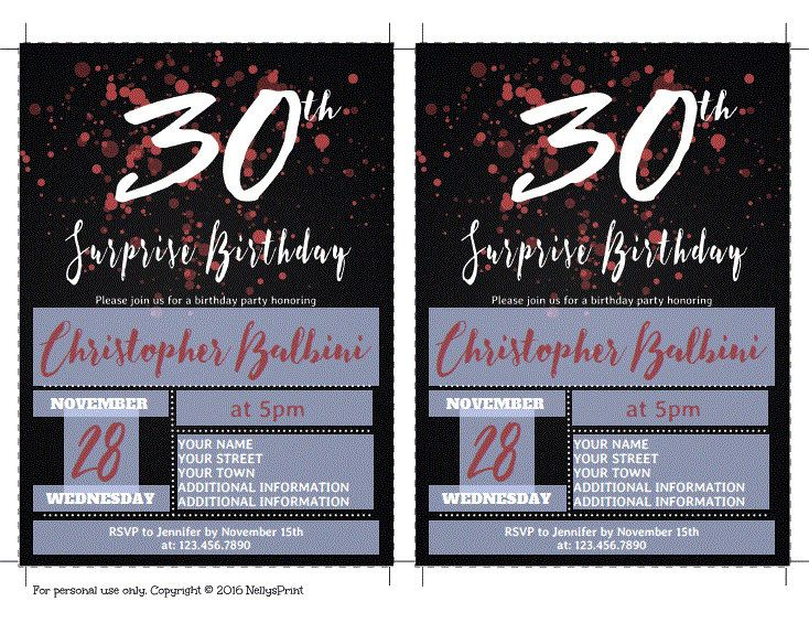 30th Surprise Birthday Invitation, Adult Birthday Invitations, Surprise Birthday Invitation, Self Editable PDF, Instant Download, DIY Invite