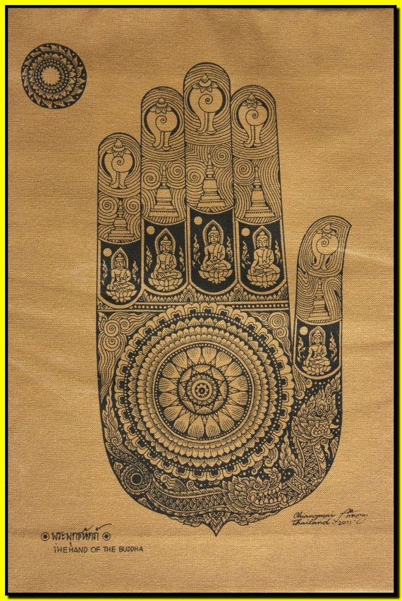 Thai traditional art of The Hand Of The Buddha by silkscreen printing on cotton via Etsy