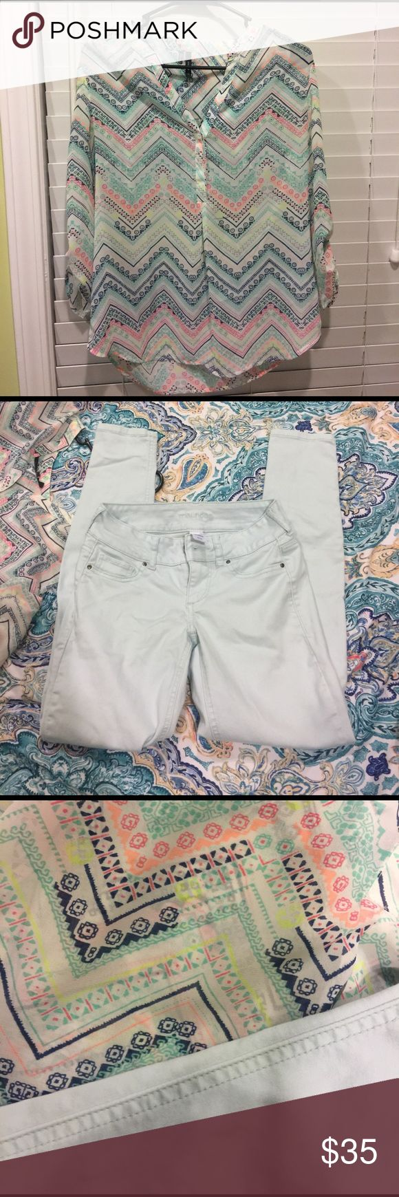 Mauries spring outfit Small mauries top- wore very few times. Hand washed and hung to dry. Mauries xs jeggings- washed on cold and hung to dry also. Would like to sell together since it's a matching outfit. Asking $35 for full outfit Maurices Other