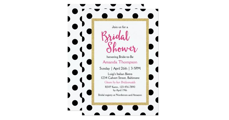 """Modern and oh-so-chic, this custom designer-look bridal shower invitation features black fashion polka dots with a glitter gold frame inset and fuchsia lettering accents. Ready to personalize with your bridal shower details by replacing the sample text shown. To add or remove lines of text, choose the """"customize it"""" button. See matching products here:"""