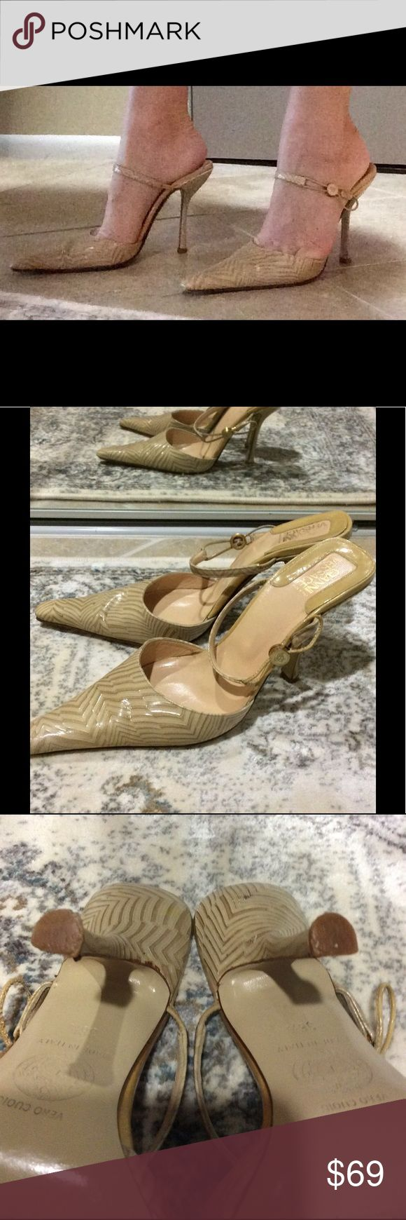 "Gianni Versace tan/nude patent leather zebra heels Pre-owned, very good condition Gianni Versace ""Medusa"" pointed toe slide on high heels. Tan/ nude zebra pattern with circle medusa accent. Size 6.5. The are absolutely amazing!!! All reasonable offers will be considered. Best of luck to all my fellow Poshers!!! Versace Shoes Heels"