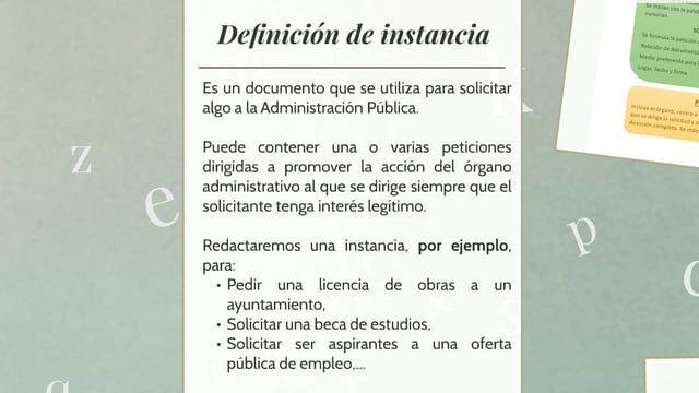 Explicación del documento 'La instancia' para los alumnos de Ciclos Formativos de FP de Administración y Gestión