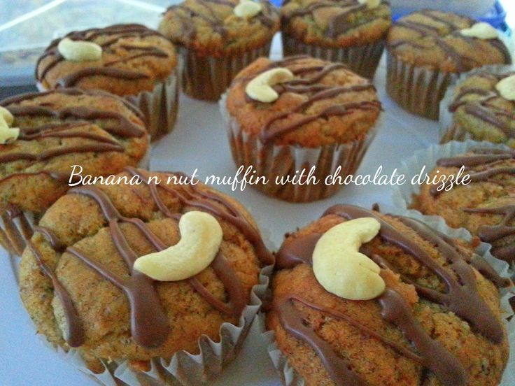 banana n nut muffin with chocolate drizzle.