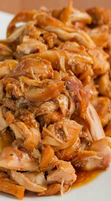 Slow Cooker Brown Sugar Glazed Pulled Chicken Recipe ~ the most tender and delicious chicken you'll ever have
