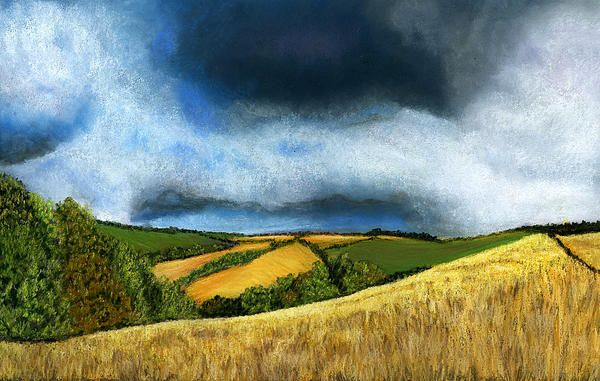 """I took the reference photo for this painting one afternoon on a walk through the corn fields at the back of my house. It had been rainy and thundery all day. There was a brief break from the rain  and I went for a walk with my camera. This was the view I captured. Dark thunderclouds over the distant fields and me, with my camera, in bright sunshine. Needless to say, the rain soon returned. Soft Pastels on Colourfix paper. Size 18""""x12"""""""