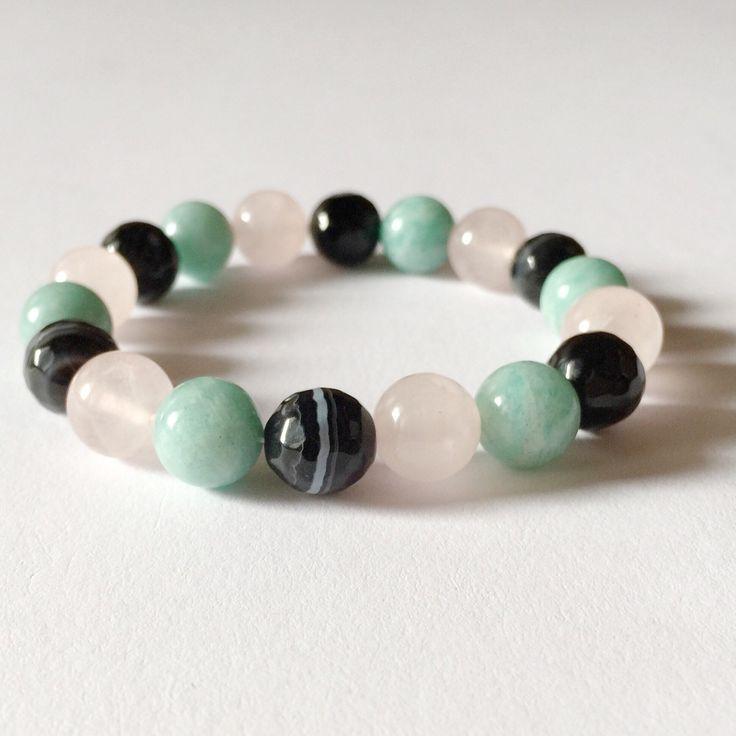 Onyx, amazonite, rose quartz natural gemstone bracelet