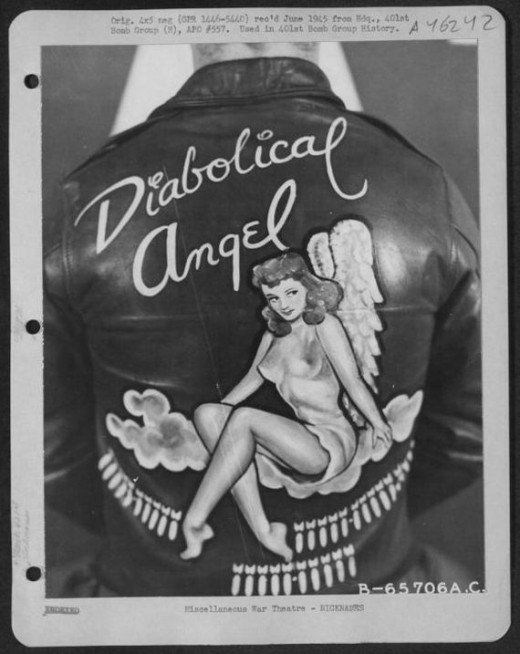 Diabolical Angel pin up jacket from the U.S. Air Force personalised bomber jackets, WWII post on www.retronaut.co
