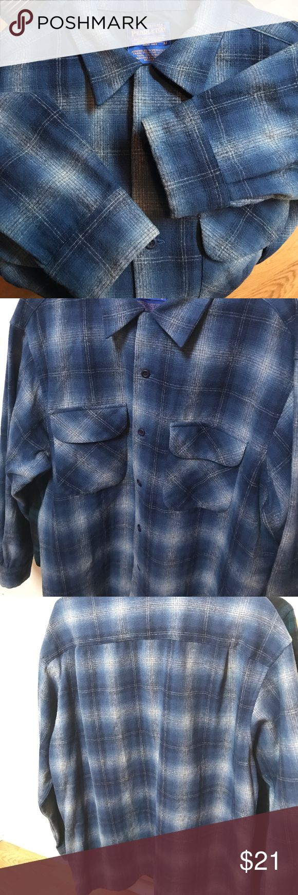 Pendleton original shirt 100% Wool size Large This is a Pendleton shirt that was in extremely Nice condition see pics this shirt had a hole that was fixed (sewn) to close up selling this shirt as is....thats why the price is extremely low its still a great deal i believe. Size large feel free to look at my other shirt i will list all flaws and this is it in this one ask questions? C2C 24' S2S 21' top2bot 29' mid center 2 end sleeve 32 1/2 Pendleton Shirts Casual Button Down Shirts