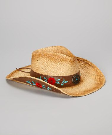 Love this Dark Tan & Red Floral Cowboy Hat by Jeanne Simmons Accessories on #zulily! #zulilyfinds $23