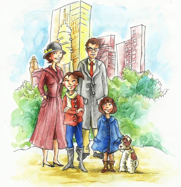 This is a whimsical style illustration and it is done in soft water color and pencil color is also done in the end to give it sharper look. It is a family illustration with their dog and the characters are semi realistic and the overall mood of the characters is happy and content. There is little use of the background in which a building and some bushes can be seen to give an appearance of a city. the colors are used in a way so that it complements the overall illustration.