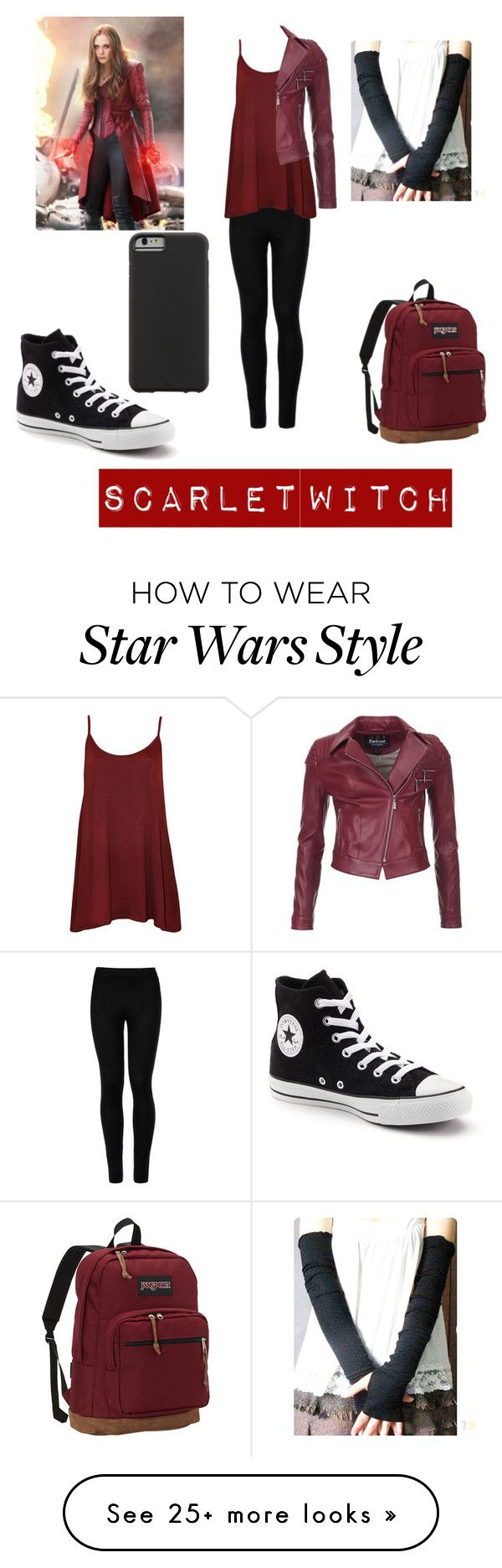 """Scarlet witch as a Teenager"" by xxgodslittleartistxx on Polyvore featuring Wolford, WearAll, Barbour International, JanSport, Converse and Case-Mate"